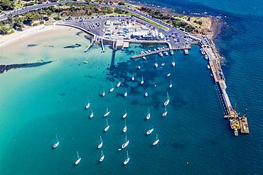 Aerial view of the Rocks Mornington on Victoria's Mornington Peninsula, Australia