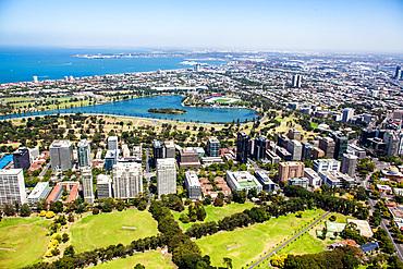 Aerial view of St Kilda in Melbourne, Australia