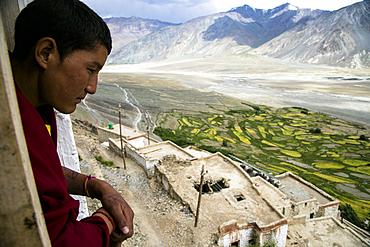 Buddhist monk in a monastery in Zanskar valley, Northern India.