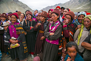 Playing music and dancing during a tibetan wedding in Zanskar Valley, Northern India.