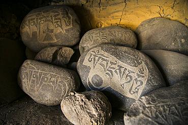 Buddhist objects on a buddhist monastery in Zanskar valley, Northern India.