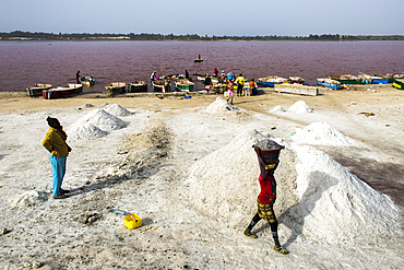 Salt collectors collecting salt to export across the region. The lake is known for its high salt content.