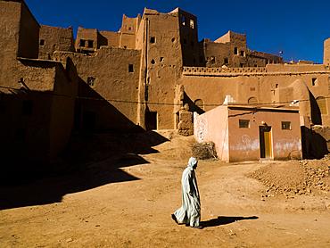 A man walking in Tinerhir Kasbah