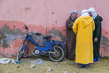 Three men trading in the animal market in Guelmim