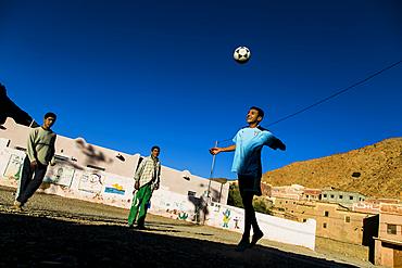 Playing footbal in Tafrout region in the Anti-Atlas