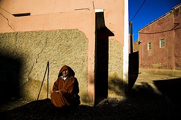 Old man outside in Tafrout region in the Anti-Atlas