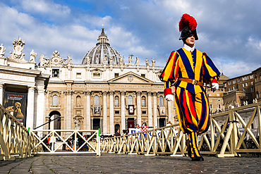 A Swiss Guard during Palm Sunday mass officiated by Pope Francis in Saint Peter's Square