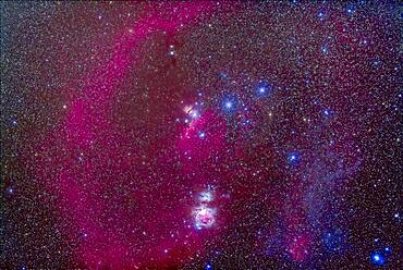 The nebulas of Orion in the Belt and Sword of Orion area. Including M42, Orion Nebula 9below centre), Barnard's Loop (at left), M78 (small reflection nebula above centre), Horsehead Nebula  (centre) and NGC 2024 (above Horsehead). There is faint reflection nebulosity at right -- the frame does not extend right far enough to show the Witchhead Nebula near Rigel.
