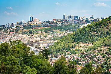 Cityscape of downtown Kigali, the growing capital city of Rwanda.