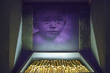 The remains of known victims of the 1994 Rwandan Genocide remain interred and on display inside of of the Kigali Genocide Memorial as a testament to those lost in the brutality, Kigali, Rwanda.