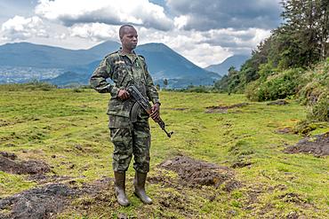 Park ranger with AK-47 Machine gun, Volcanos National Park, Rwanda
