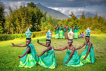 Intore Traditional dance performed outdoors near Volcanoes National Park in Rwanda