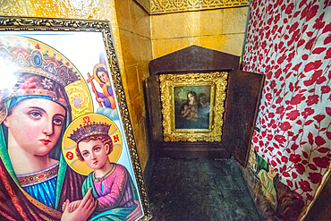 Religious artwork on display within the Beata Maryam Church, resting place of Menelik II and his wife and daughter. Addis ababa, Ethiopia.