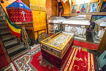 Royal tombs and artifacts within the Beata Maryam Church, resting place of Menelik II and his wife and daughter. Addis ababa, Ethiopia.