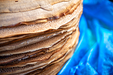 Close up of stack of Injera or Ethiopian flatbread, Debre Berhan, Ethiopia