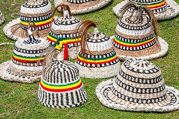 Traditional wool hats worn by farmers, Debre Berhan, Ethiopia