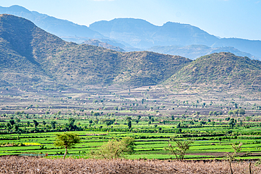 Fields laying below the mountains near Debre Berhan, Ethiopia