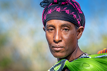 A portrait of an Ethiopian woman in colorful clothing, Debre Berhan, Ethiopia