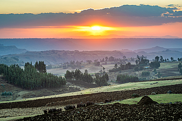 The sun setting over the mountains and valleys of Debre Berhan, Ethiopia.