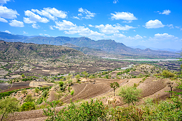 A view down into the beautiful and fertile valleys near Debre Berhan, Ethiopia.