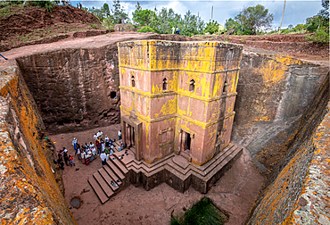 Rock hewn monolithic church of Bet Giyorgis (Church of St. George) in Lalibela, Ethiopia