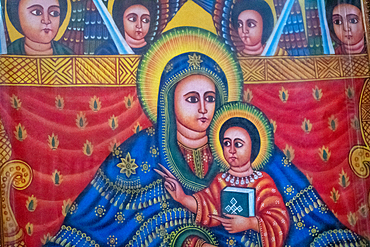 A painting of Mary and Jesus inside the rock hewn monolithic church of Bet Medhane Alem (Church of the World Savior) in Lalibela, Ethiopia