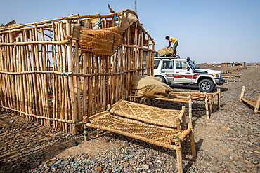 A makeshift shelter for salt miners in the Danakil Depression, Ethiopia