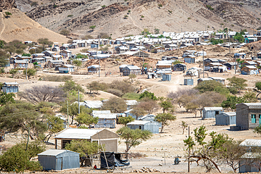 Temporary shelters within the refugee camps of the Danakil Depression, Ethiopia. Danakil Depression, Ethiopia