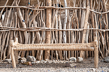 A close up of a cot on a campsite in the Danakil Depression, Ethiopia