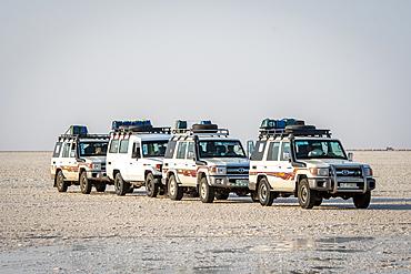 Land Cruisers drive through the salt flats in the Danakil Depression, Ethiopia