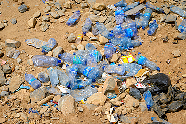 A large amount of plastic water bottles littered in the Danakil Depression, Ethiopia