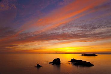 Sunset at Rosario Beach, Deception Pass State Park, Fidalgo Island, Washington.