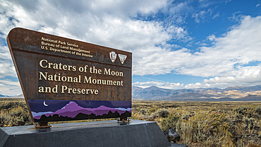 Entry sign at Craters of the Moon National Monument and Preserve, Idaho, USA.