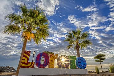 Loreto sign on the malecon in Loreto, Baja California Sur, Mexico.