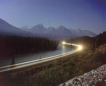 Taken from Morant's Curve on Bow Valley Parkway in Banff National Park near Lake Louise, Alberta. Lone dot of light on distant mountain must be from Lake Agnes Tea House on Little Beehive Peak above Lake Louise.