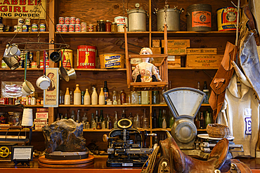 Collectibles and antiques on display in the Historic Gaskill Brothers Stone Store and Museum in Campo, California.
