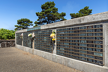 Memorial Wall on the waterfront at Depoe Bay, Oregon Coast.