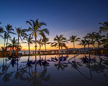 Sunset at Marival Emotions Resort in Nuevo Vallarta, Riviera Nayarit, Mexico.