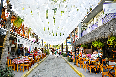Sidewalk restaurants in Sayulita, Riviera Nayarit, Mexico.