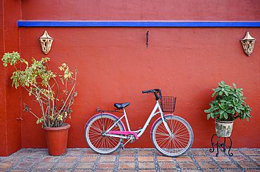 Bicycle at Hotel Hacienda Flamingos in San Blas, Riviera Nayarit, Mexico.