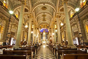 Interior of Basilica de la Inmaculada Concepcion (Cathedral of the Immaculate Conception) in downtown Mazatlan, Sinaloa, Mexico.