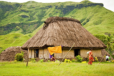 Traditional Fijian bure in Navala Village, Nausori Highlands, Viti Levu Island, Fiji.