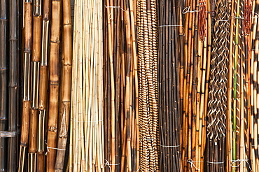 Decorative bamboo and reeds at craft market in Tonal·, Mexico.