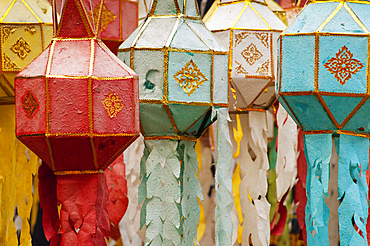 Paper lanterns at Wat Phan Tao Buddhist temple in Chiang Mai, Thailand.