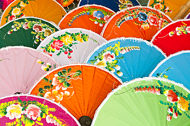 Hand-painted umbrellas for sale at The Umbrella Factory in Chiang Mai, Thailand.