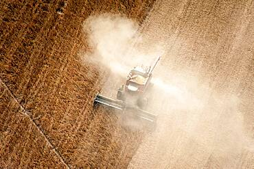 Aerial of soybean harvest in Maryland