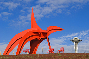 """Alexander Calder's """"Eagle"""" in the Seattle Art Museum's Olympic Sculpture Park with the Space Needle in the distance; Seattle, Washington."""