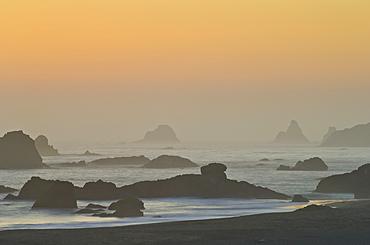 Sunset at Harris Beach State Park, Oregon coast.