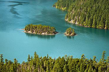 Diablo Lake islands from overlook, Ross Lake National Recreation Area, North Cascades, Washington.