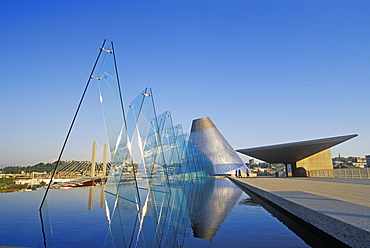 Museum of Glass and its outdoor reflecting pool; Tacoma, Washington.